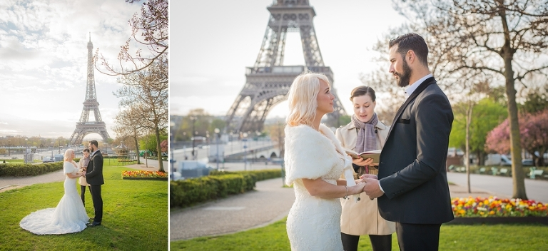 Sunrise Eiffel Tower wedding ceremony