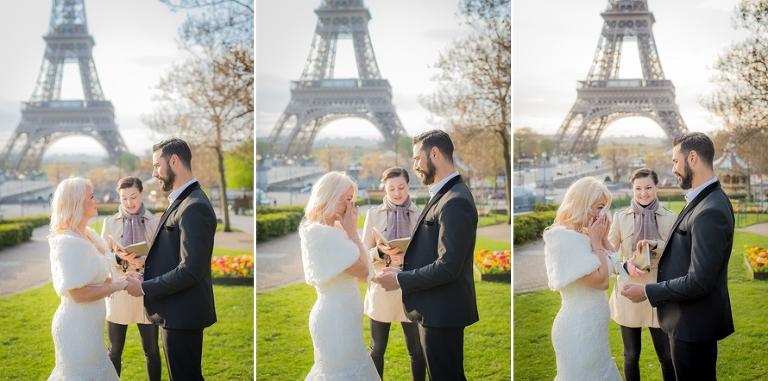 Sunrise Eiffel Tower wedding personal vows