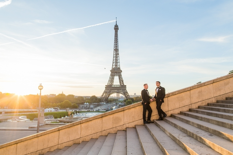 gay wedding in paris trocadero sunrise
