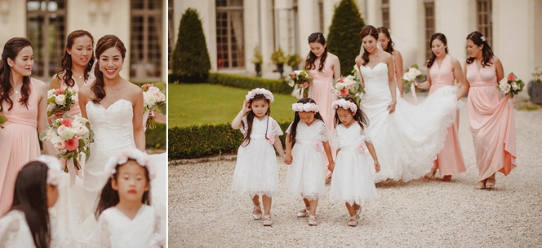 Wedding ceremony in France bride bridesmais flower girls