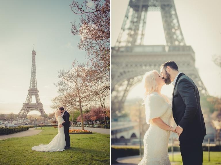 Sunrise Eiffel Tower Wedding Kiss
