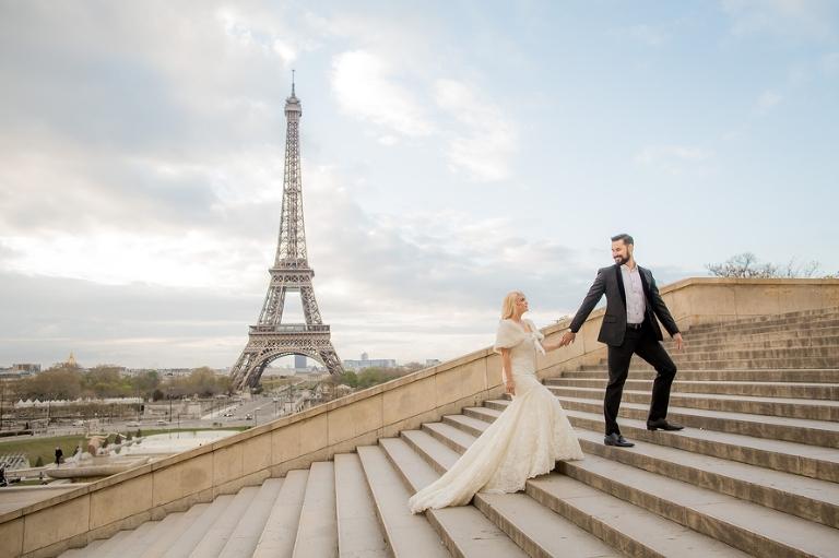 Sunrise Eiffel Tower Wedding Photography